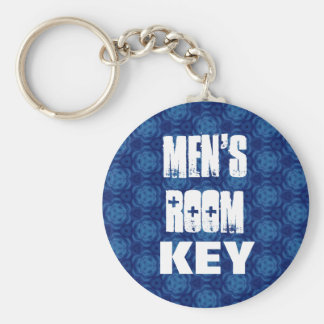 Men's Room Keychain - Blue Pattern