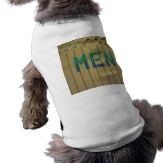 Mens Room Sign in lime green Shirt