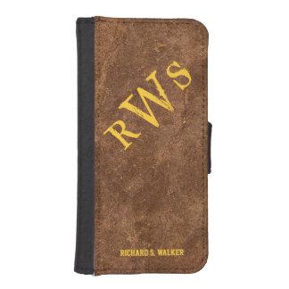Mens Rustic Country Western Monogram Phone Wallet Case