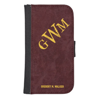 Mens Rustic Country Western Monogram Wallet Phone Case For Samsung Galaxy S4