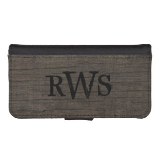 Mens Rustic Country Western Wood Monogram iPhone SE/5/5s Wallet Case