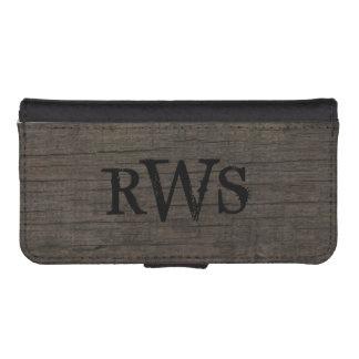 Mens Rustic Country Western Wood Monogram iPhone 5 Wallet Cases
