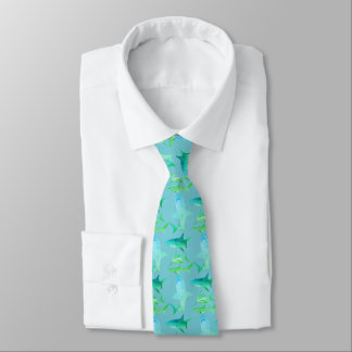 Mens Shark Tie-Aqua Blues & Greens Neck Tie