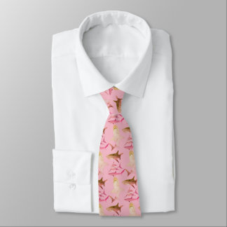 Mens Shark Tie-Pink & Brown Neck Tie