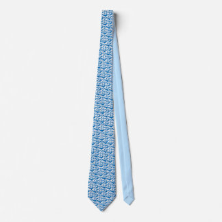Men's silk blue and white tie