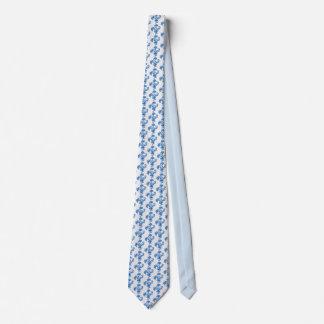 Men's silk tie, navy blue flower, white tie