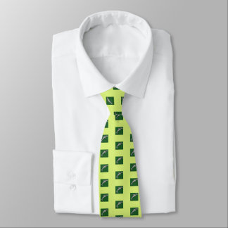 Men's silk tie swim with sharks, chartreuse, aqua