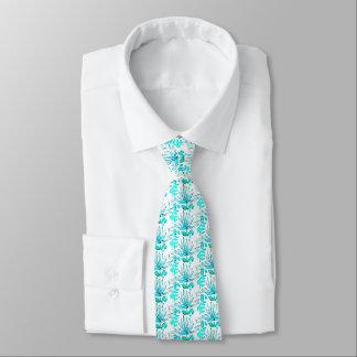 Men's silk tie with palm fronds, bright aqua