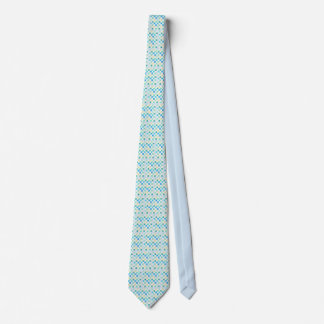 Men's silk tie wth small squares, light blues