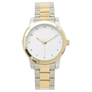 Mens silver and gold wrist watch with white face