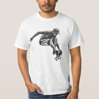 Mens Skateboard Tee black and white graphic.
