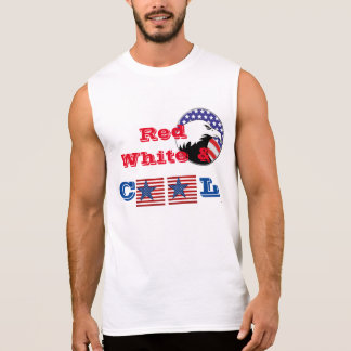 Men's Sleeveless Muscle Shirt Red White & Cool