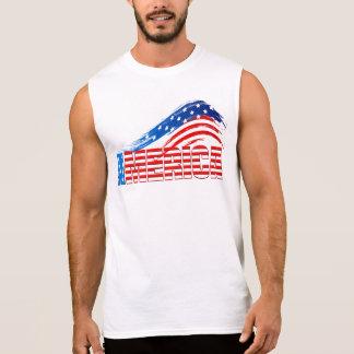 """Men's Sleeveless Tee - """"AMERICA"""" in Stars Stripes"""