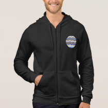 Men's sleeveless zip hoodie with blue mosaic