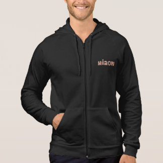 Men's sleeveless zip hoodie with 'miaow'