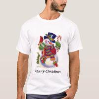 Mens Snowman Holiday cartoon t-shirt
