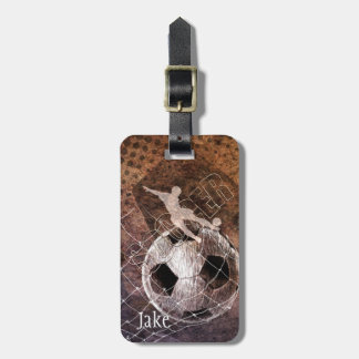 mens soccer grunge player kicking bag tag