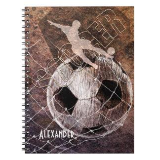 mens soccer player kicking ball goal spiral notebook