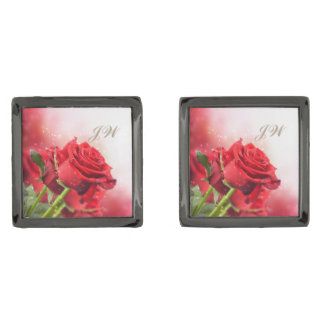 Men's Square Red Rose Cuff Links-w/Monogram Cufflinks