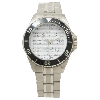 Men's Stainless Steel Watch With Sheet Music Face