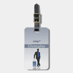 Mens Stylish Personalized Silhouette Luggage Tag at Zazzle