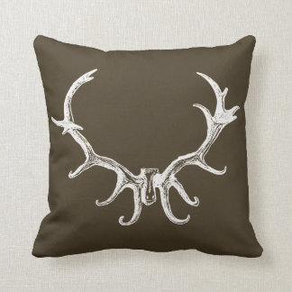 Men's Stylish White Hunting Deer Antler Retro Stag Throw Pillow
