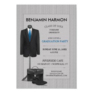 Men's Suit Pinstripe Masculine Business Graduation Card