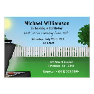 Mens Summer BBQ Birthday Invitations