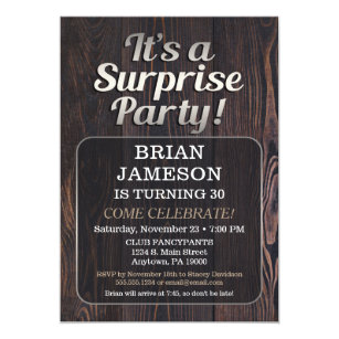 Mens Surprise Party Invitation For Man Adult Male