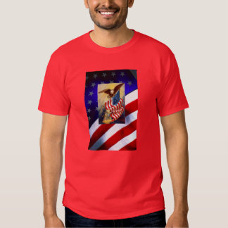 Mens T-Shirt w/ Eagle Defending-Over American Flag