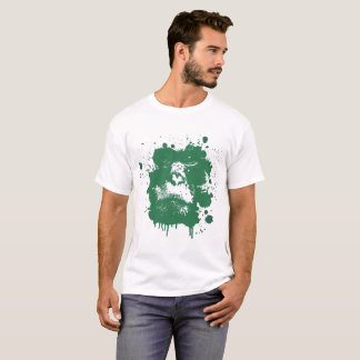 Men's T-shirt with a monkey theme in green 2