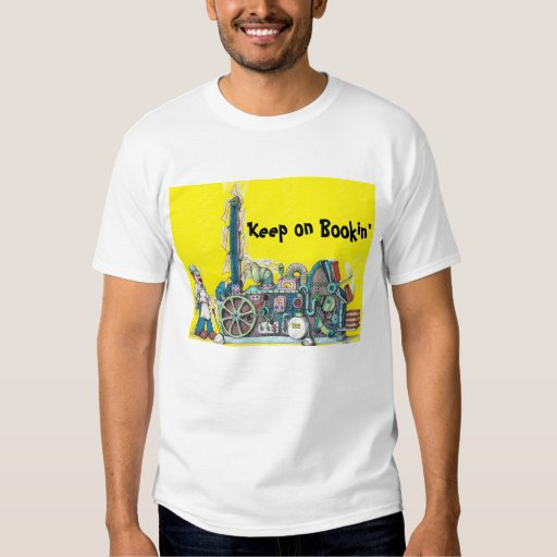 men's t-shirt with Keep on Bookin' slogan