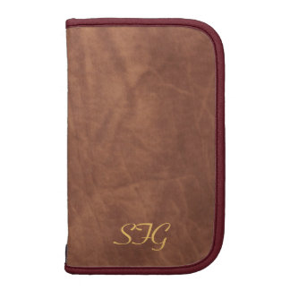 Mens Tan Leather Monogram Daily Planner