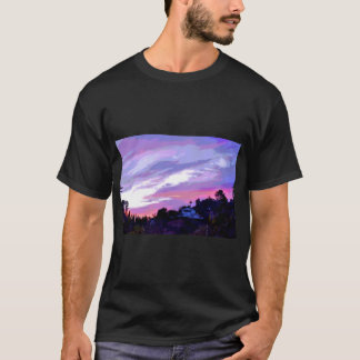 Men's Tee Shirt with Abstract Purple Landscape