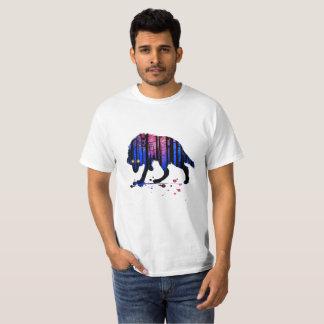 Mens Teen Boys Wolf Galaxy Star Forest Silhouette T-Shirt