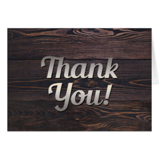 Mens Thank You Card Wood Rustic Brown Country