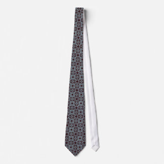 Men's tie with turquoise/teal design on brown