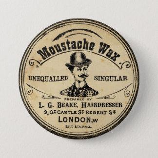Mens Vintage Mustache Moustache Wax Pin Button