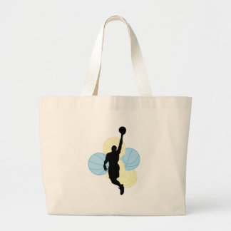 mens volleyball silhouette design tote bags