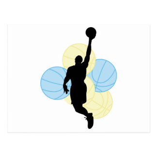 mens volleyball silhouette design postcard
