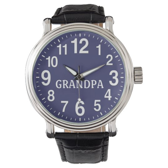 mens watch blue face leather band for grandpa zazzle mens watch blue face leather band for grandpa