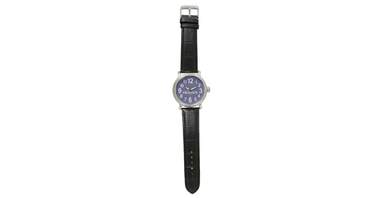 mens watch blue face leather band for grandpa zazzle
