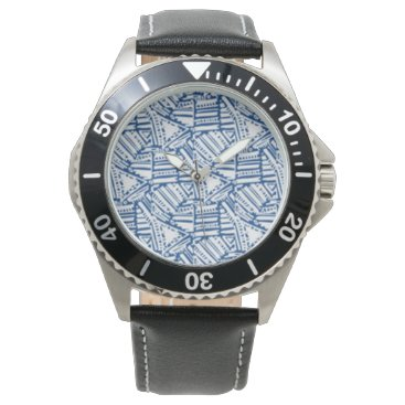 gwena2009 Men's watch with black band and navy white design