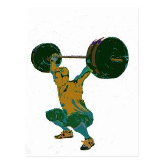 Men's weight lifting, fitness, t-shirts postcard
