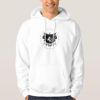 Mens White hoody with SCR logo in Black