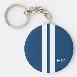 Mens White Racing Stripes Midnight Blue Keychain