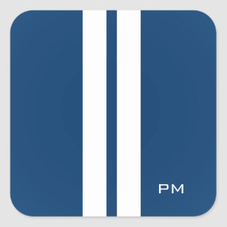 Mens White Racing Stripes Midnight Blue Square Sticker