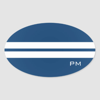 Mens White Racing Stripes Midnight Blue Sticker
