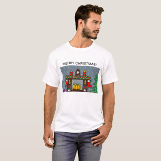 mens white t shirt with christmas design
