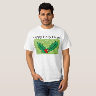 Mens white t shirt with christmas holly